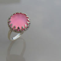 Pink Watermelon Luna Cabochon Solid Silver Ring