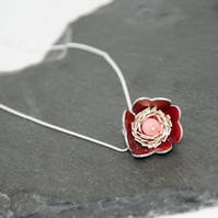 Red Alu-Flower Necklace With Pink Coral Gemstone