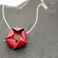 Large Red Alu-Flower Necklace