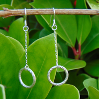 Solid Silver Twisted Weave Halo Drop Earrings