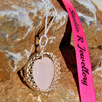 Light Pink Heart Shaped Rose Quartz Sterling Silver Necklace