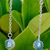 Light Blue Freshwater Pearl Sterling Silver Drop Earrings