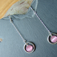 Pink Cat's Eye Sterling Silver Drop Earrings