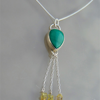 Malachite and Citrine Sterling Silver Tassel Pendant