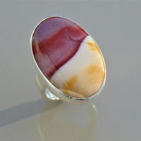 Mookaite Oval Solid Silver Ring