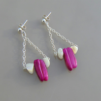 Pink and White Shell Sterling Silver Drop Stud Earrings