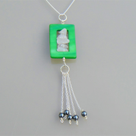 Green Shell and Rose Quartz Pendant with Silver Tassels
