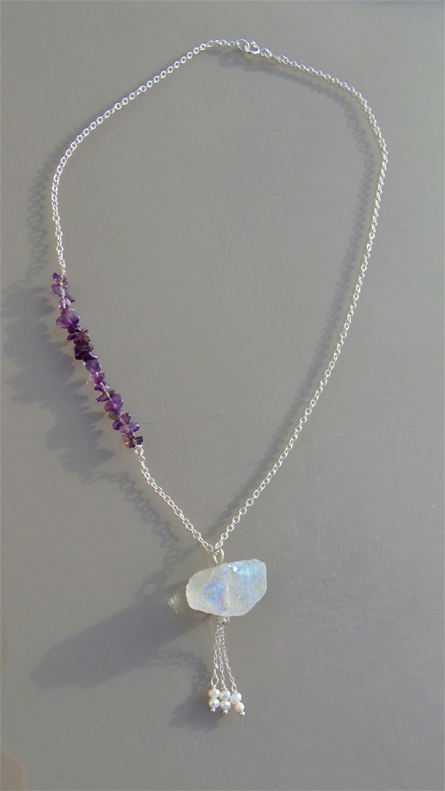 Rainbow Quartz and Amethyst Pendant