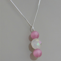 Rose Quartz and Pink Cats Eye Sterling Silver Necklace