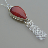 Sterling Silver Red Botswana Agate Pendant