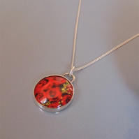 Red Roses Sterling Silver Flower Pendant