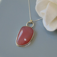 Pink Botswana Agate Sterling Silver Pendant