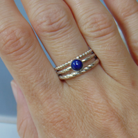 Sterling Silver Stacking Rings With Lapis Lazuli