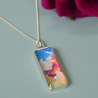Butterfly Blue and Pink Sterling Silver Pendant