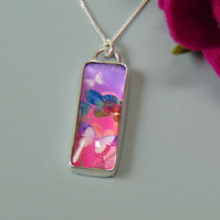 Butterfly Pink and Purple Sterling Silver Pendant