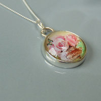 Pretty Pink Roses Sterling Silver Pendant