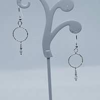 Storm -  Sterling silver & aquamarine hook earrings.