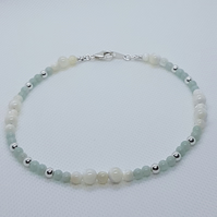 Antandre - Chinese amazonite & mother of pearl ankle bracelet.