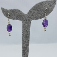 Amenti - Amethyst & pearl silver earrings.