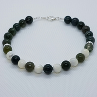 Donn - Green moss agate, Mother of pearl & silver bracelet.
