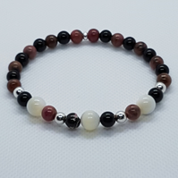 Dabria - Rhodonite, onyx and silver bracelet.