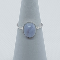 Azura - Blue lace agate ring.