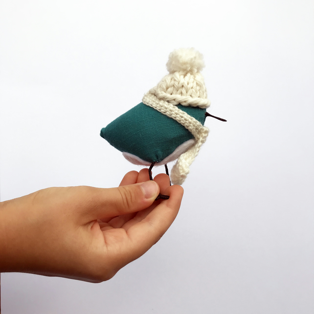 Little Birds with Hat - Fabric Bird - Stocking Filler - Fibre Art -Bird Figurine