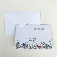 Funny Get Well Soon Card, Floral And Mushroom Watercolour Art Card, Hand Painted