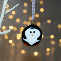 Small handmade fused glass penguin decoration, baby penguin decoration