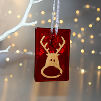 Large shocked Rudolf fused glass decoration, Rudolf decoration