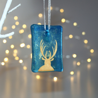 Fused Glass Blue Stag Tile - Handmade Christmas Decoration - Front