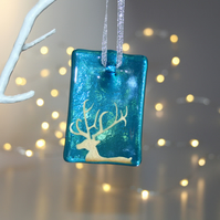 Fused glass blue stag tile - handmade Christmas decoration - side