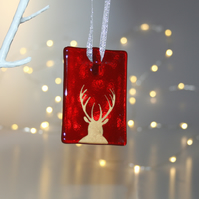 Fused glass red stag tile - handmade Christmas decoration - front