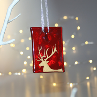 Fused glass red stag tile - handmade Christmas decoration - side