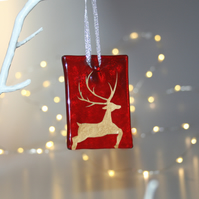 Fused glass red stag tile - handmade Christmas decoration - leaping