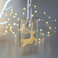 Fused glass gold & clear stag tile - handmade Christmas decoration - leaping