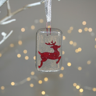Fused glass copper foil reindeer Christmas decoration - handmade