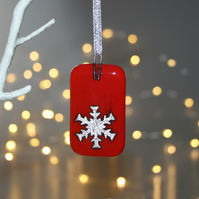 Fused glass silver foil snowflake Christmas decoration on red - handmade