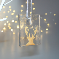 Fused glass gold & clear stag tile - handmade Christmas decoration - front