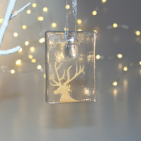 Fused glass gold & clear stag tile - handmade Christmas decoration - side