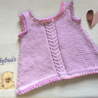 Baby dress. Pinafore. Hand knitted baby dress. Wool baby dress