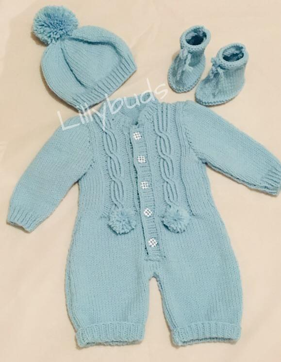 a6006efc0 Knitting Pattern for Baby Romper, All in One, S... - Folksy