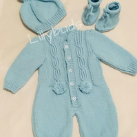 Knitting Pattern for Shannon Baby Romper, All in One, Sleep suit, Onesie