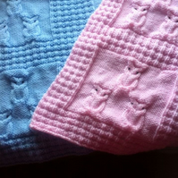 Knitting pattern for Owl Baby Blanket