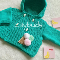 Hand knitted, hooded coat, green coat, double breasted, hood