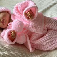 hand knitted, 3 piece suit. Baby suit, jacket, leggings and hat