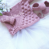 Hand knitted, Ballet Style, Wrap over Cardigan and Slippers 0-3 months