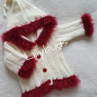 Hand knitted baby cardigan, jacket, hoodie, fur trim, hood, Christmas