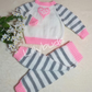 Hand knitted baby girl suit, Baby set, Sweater and Trousers, Pink