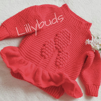 Bobble sweater, jumper, baby, toddler children. Hand knitted baby clothes peplum